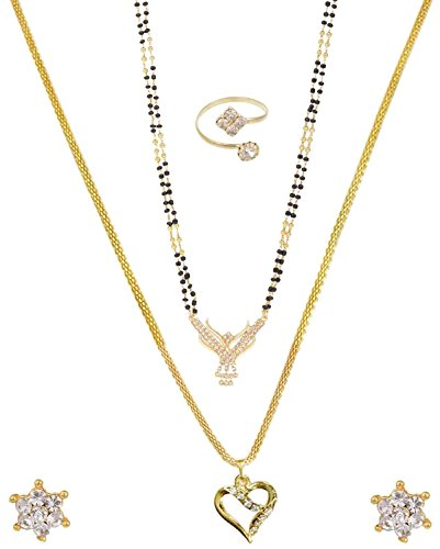 Nnits Multicolor Gold Polished Pendant Necklace With Chain, Mangalsutra , Stud Earring & Ring Set For Women