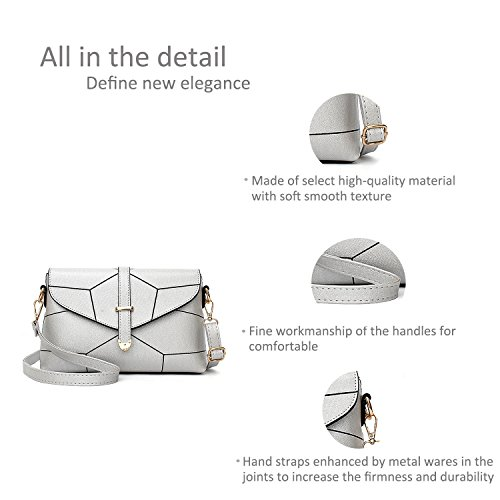 Ruiren for Silver Messenger Multifunction Ladies Shoulder Bag Veins Handbags Bags Women B0Bw4prSq
