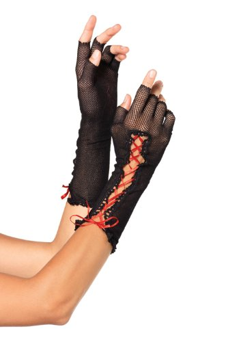 Avenue Lace Up Costume (Leg Avenue Women's Lace Up Fishnet Fingerless Gloves, Black, One Size)