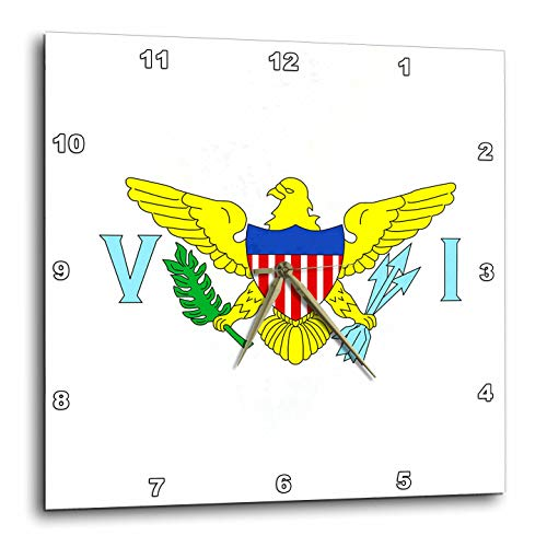 3dRose Macdonald Creative Studios - Islands - The Caribbean Flag for The United States Virgin Islands. - 10x10 Wall Clock -