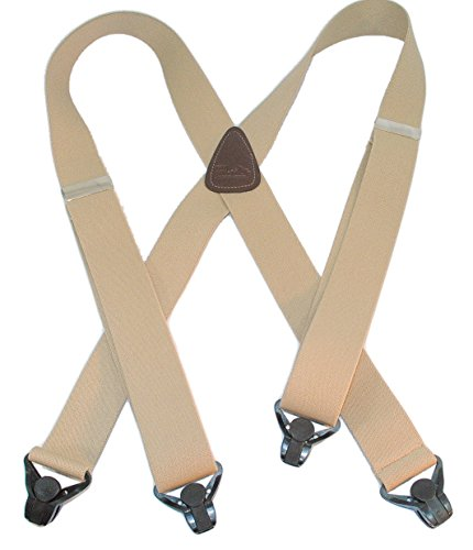 Holdup Brand Light Tan Snow Ski Suspenders in 1 1/2