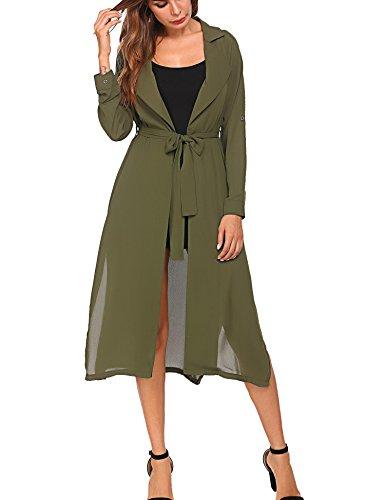 BEAUTEINE Women's Long Sleeve Waterfall Asymmetric Drape Open Long Maxi Cardigan Army Green Small