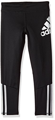 adidas Girls' Big Performance Tight Legging, Active Black, S (7/8)