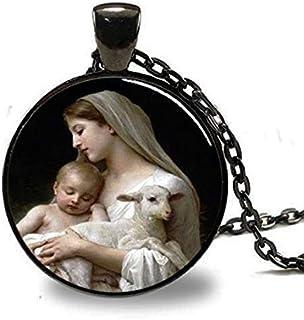 Crèche de Noël Pendentif vierge Marie Jésus et Agneau, spirituel Bijoux, pendentif de Noël, religieux Collier