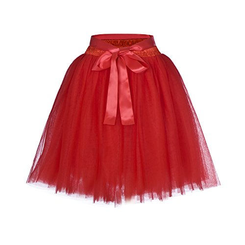 (High Waist Dance Petticoat Adult A-Line Tutus for Women Tulle Skirt for Bridesmaid/Wedding Flower Girl Gown Prom Party (Red))