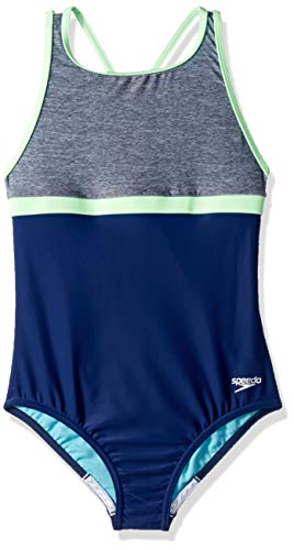- Speedo High Neck Empire Onepiece, Heather Grey, 14