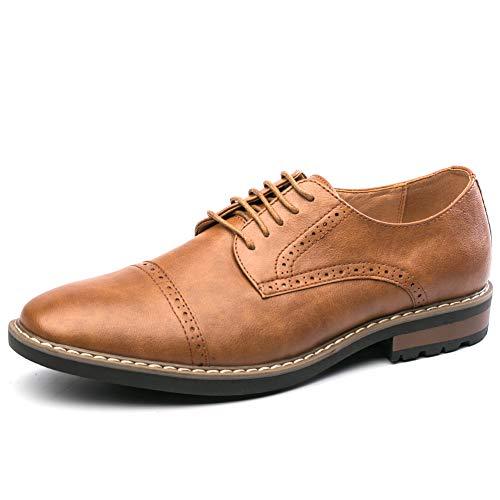 Men's Oxford Dress Shoes Classic Cap Toe Lace up Formal Derbys Shoes (Brown 10.5)
