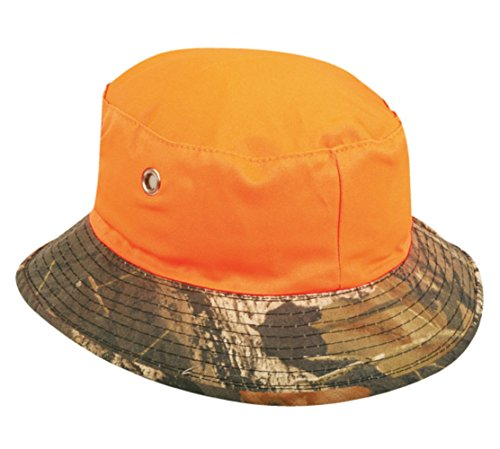 (Mossy Oak Break Up/ Blaze Orange Reversible Boonie Bucket Style Hunting Outdoor Hat / Cap (Medium) )