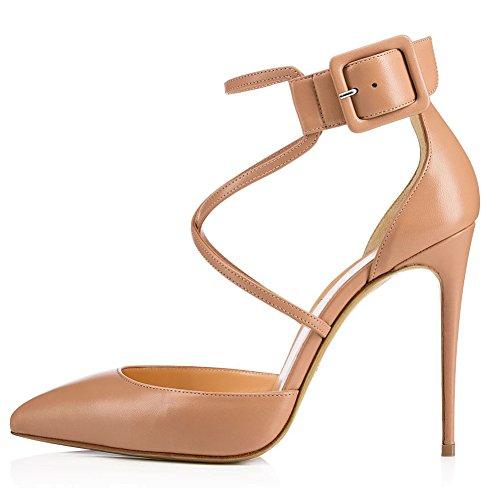 Zapatos de Mujer Artificial PU 2018 Primavera Verano Confort Novedad Heels Stiletto Heel Pointed Toe Ladies para el Banquete de Boda y la Noche Negro/Marrón (Color : Marrón, tamaño : 44)