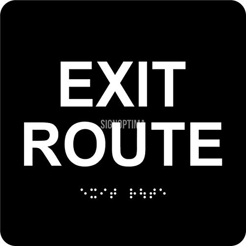 """ADA EXIT Route Sign with Braille and Raised Letters, 6""""x6"""" ADA Compliant"""