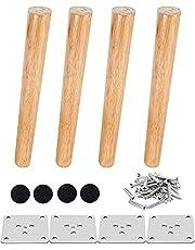 Drenky 4-delige houten meubelpoten Massief taps toelopende houten tafelpoten Schuine bankpoten Vervangende meubelpoten met montageplaat Schroeven en antislipbeschermer