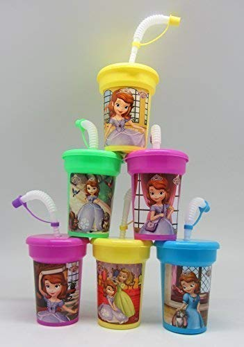 6 Sofia the First Stickers Birthday Sipper Cups with Lids Party Favor Cups -