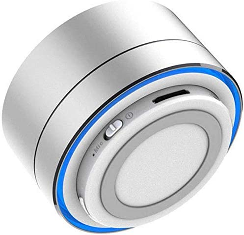 Telsa - Altavoz inalámbrico portátil Bluetooth de metal – 360 grados Surround, manos libres y micrófono integrado con batería interna recargable y compatible con todos los dispositivos Bluetooth