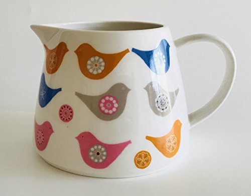 White Creamer Pitcher (Pink, Blue, Orange And Grey Decorative Birds On White Ceramic Pitcher | Creamer | Holds 12 ounces | Measurement is 3.25 inches x 5.25 inches)