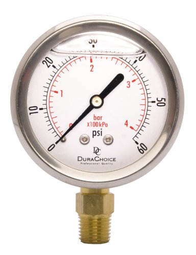2-1/2'' Oil Filled Pressure Gauge - Stainless Steel Case, Brass, 1/4'' NPT, Lower Mount Connection 0-60PSI by DuraChoice