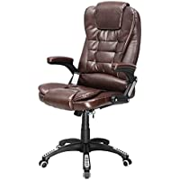 Brown Executive Ergonomic Computer Desk Massage Chair Vibrating Home Office New