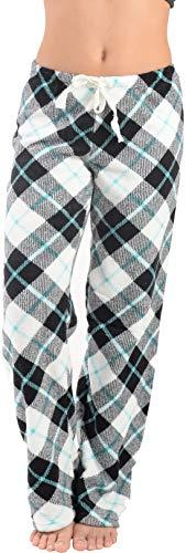 Active Club Women's Warm Printed Cozy Plush Lounge Pajama Pants (X-Large, Black Plaid) ()