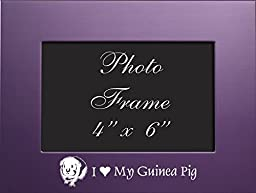 4x6 Brushed Metal Picture Frame-I love my Guinea Pig-Purple