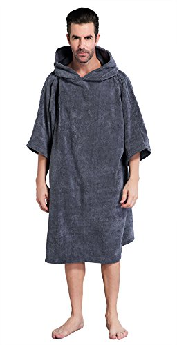 Winthome Changing Towel Poncho Robe with Hood | One Size Fits All(Grey -