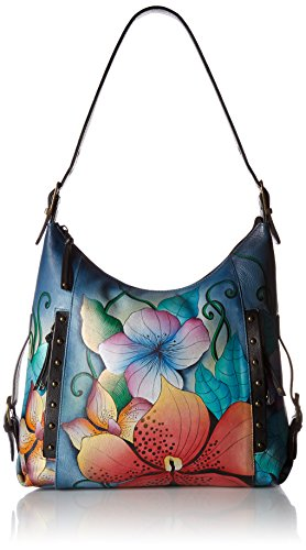Anna by Anuschka Hand Painted Leather Women's Shoulder HOBO, midnight floral