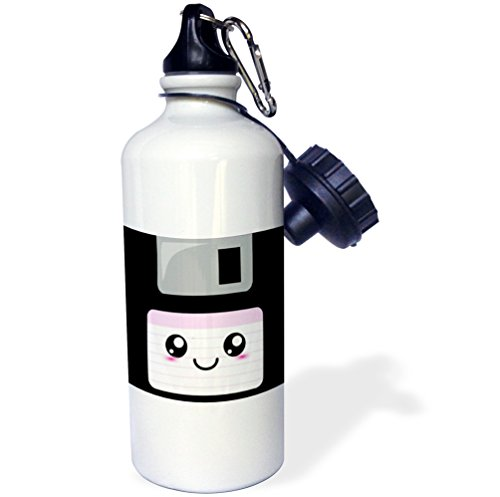 3dRose wb_57453_1 Kawaii Cute Happy Floppy Disk-Retro Computer Nerd-Japanese Anime Smiley Cartoon with Pink Label Sports Water Bottle, 21 oz, White by 3dRose