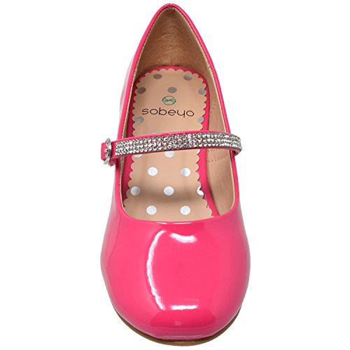 Strap SBO 48 Jane SOBEYO MARY Fuchsia Dress Pumps Girls Mary Kids Heel Shoes Rhinestone Low PPZIwfq