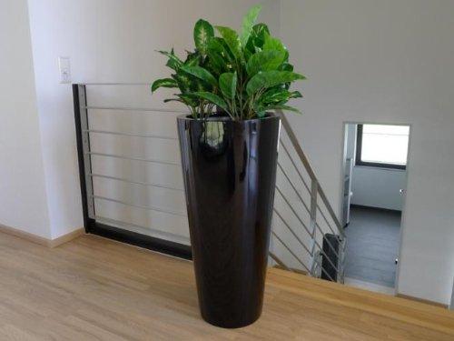 Pflanzkübel NICE aus Hochglanz Fiberglas 38x38x80cm in schwarz, Pflanzkübel, Pflanztöpfe, Pflanzgefäße, groß, rund