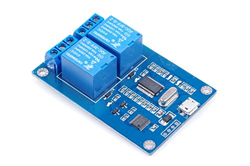 2-Channel 5V Relay Module Micro USB Interface / TTL Level Serial Interface Serial Communication 2-Channel Output Relay Control Board (Serial Board Relay)