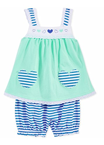 First Impressions Baby Girls 2-Piece Heart Tunic & Stripe Bloomers Set, Aqua Gloss, 0-3 (Two Piece Bloomers)