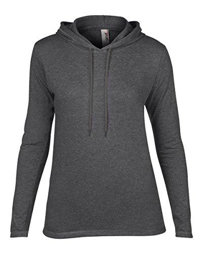 Anvil–Camiseta con capucha y l/sl Heather Dark Grey/Dk Grey