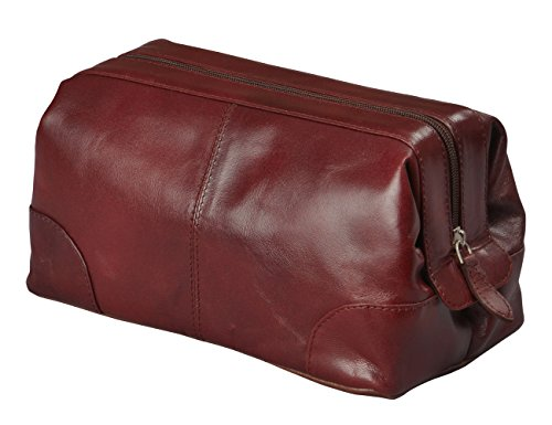 91c7d64733c0 Amazon.com : Mens Toiletry Bag Dopp Kit by Bayfield Bags-Small Compact  Minimalist Glossy Leather Shaving Kit For Toiletry Travel Bag (10x5x5)  (burgundy) ...