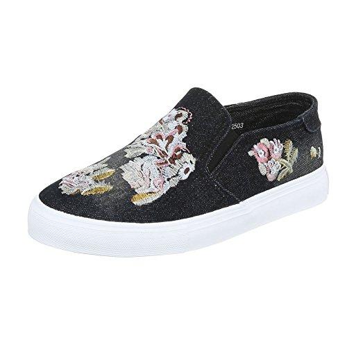 Ital-Design - Zapatillas de casa Mujer Schwarz 2503