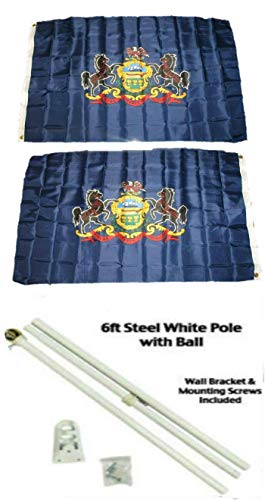 ALBATROS 3 ft x 5 ft State of Pennsylvania 2ply Flag White with Pole Kit Gold Ball Top for Home and Parades, Official Party, All Weather Indoors -