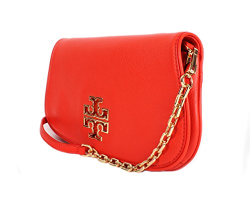 Tory Women's 39055 Poppy Red Clutch Crossbody Leather Britten Burch handbag Chain qx4wPrqH