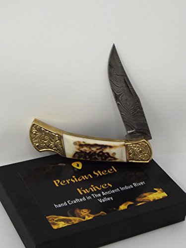 Persian Steel Knives Stag Bone Handle Lockback Damascus Steel Blade created in the Ancient Indus Valley