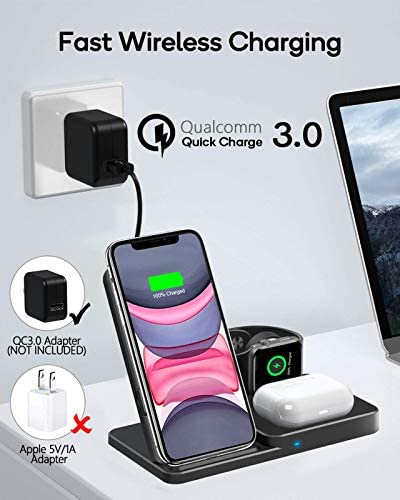 QI-EU Wireless Charger, Qi-Certified Fast Wireless Charging Station for AirPods/Apple Watch Series/iPhone 12/11/11 professional/11 Pro Max/XS/XS Max/XR/8/8 Plus/SE,Adjust Wireless Charging Stand for Samsung