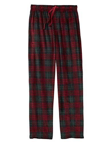 (Mens Red & Green Plaid Christmas Microfleece Sleep Pants Pajama Bottoms S)