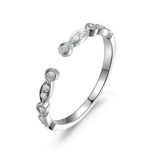 Diamond Wedding Ring,14K Rose gold,Anniversary Ring,Half Eternity,Art deco Marquise,Stacking,Matching band,Opening 5mm