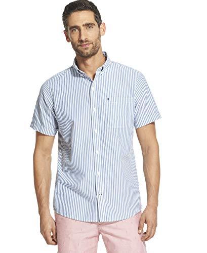 IZOD Men's Breeze Short Sleeve Button Down Stripe Shirt, Bright Cobalt, Small