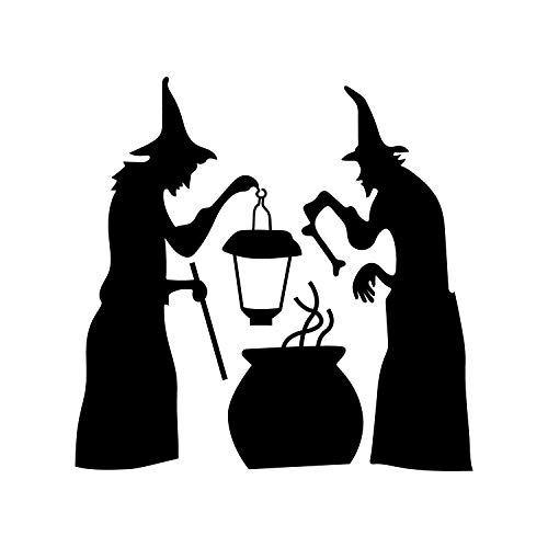 Vinyl Wall Art Decal - 2 Witches and Cauldron - 22.5