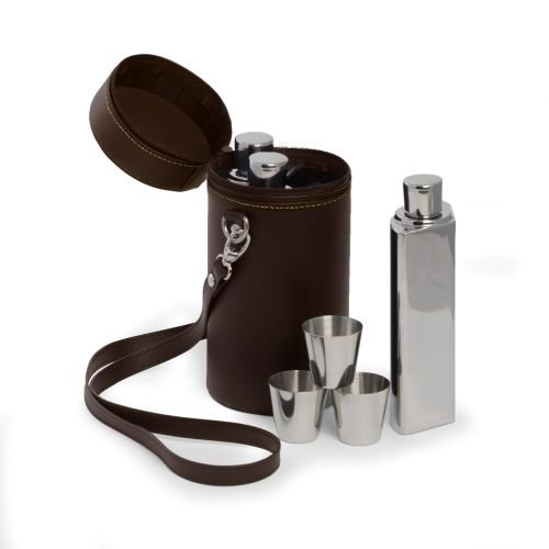 Bey Berk 7-Piece Flask Set in Leather Carrying Case by Bey-Berk