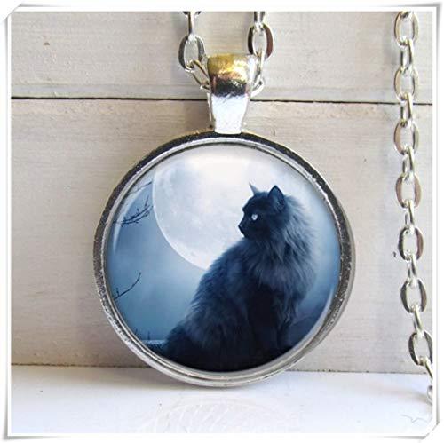 Black Cat Pendant, Cat Necklace, Cat Jewelry, Silver and Glass Charm Necklace Unique Glass Ornaments