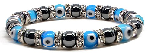 Accents Kingdom Women's Magnetic Hematite Tuchi Simulated Pearl Light Blue Evil Eyes Stretch Crystal Beads Bracelet, 7.5