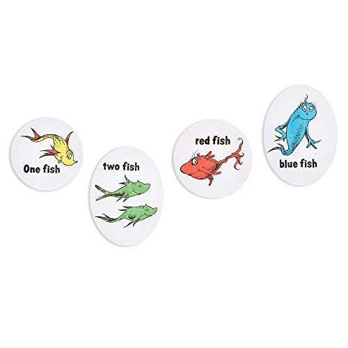 Patton Wall Decor Dr. Seuss 8x8 One, Two, Red, Blue Fish 4 Piece Stretched Canvas Art Set Wall Decor]()