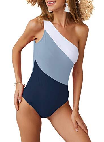 dowerme 2019 Womens Summer Bikini Sleeveless One Shoulder Striped Color Print One Piece Swimsuit (X-Large, Blue)