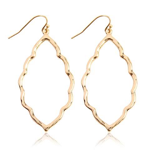 - RIAH FASHION Lightweight Geometric Cut-Out Drop Earrings - Simple Metallic Open Hoop Wire Hook Dangles Pear, Teardrop, Oval Octagon (Hammered Scalloped Petal - Matte Gold)