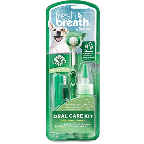 Dental Fresh Dental Care - TropiClean Fresh Breath Dental Care Kit For Small Dogs, 2 oz. Gel and Triple-Flex Toothbrush Included