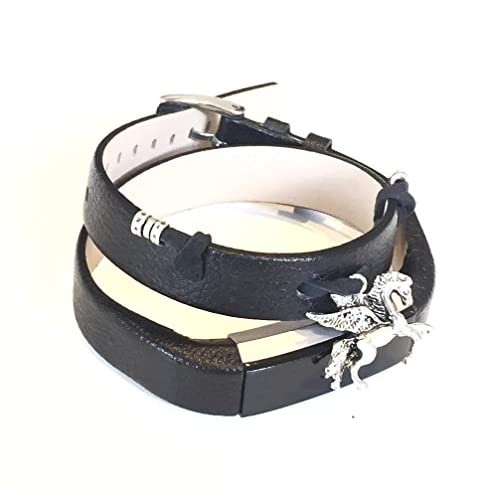 Double Bracelet en cuir noir grainé pour Fitbit Alta et Alta HR tracker de fitness de remplacement Band Motif Vintage fabriqué à la main avec charm Pegasus Argent Ornement