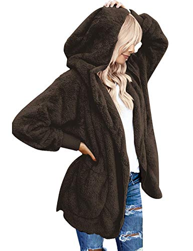 Vetinee Women's Casual Draped Open Front Hooded Cardigan Fleece Oversized Outerwear Brown Size Small (fits US 4-US 6) ()