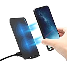 Fast Wireless Charger Fast Qi Wireless Charging Pad Stand with 2 coils for iPhone X/iPhone 8 / 8 Plus,Samsung Galaxy Note 8 ,S8 +/S8/S7/Edge/6 and Other Qi-enabled Devices - Black